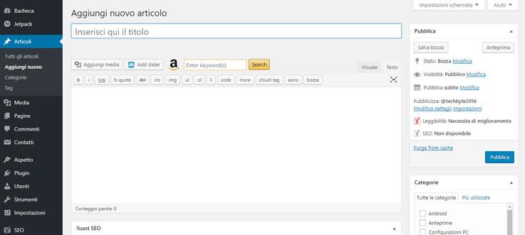 Wordpress: primo articolo e codici HTML per il testo