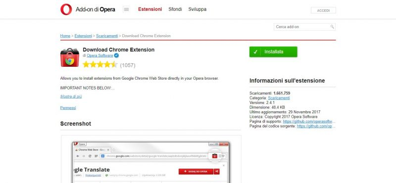Estensione di Opera: Donwload Chrome Extension