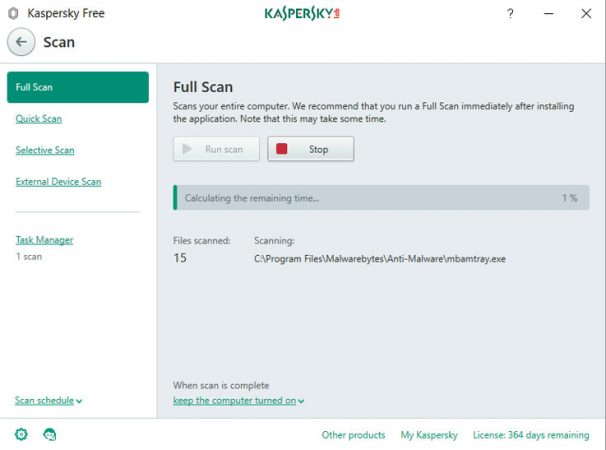 Kaspersky Free: scan in esecuzione