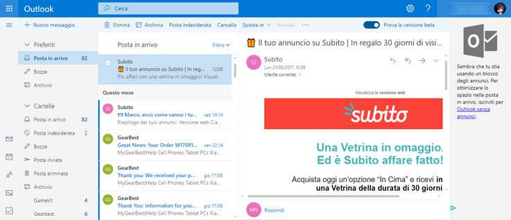 Schermata principale di Outlook Beta
