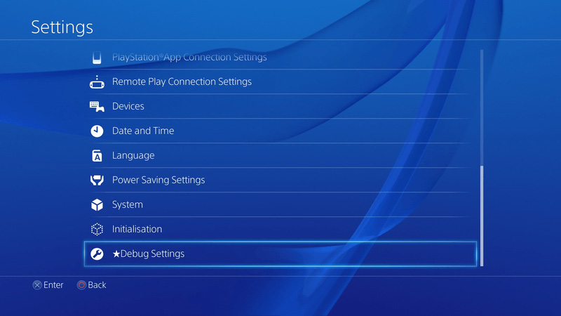Debug Settings su PS4
