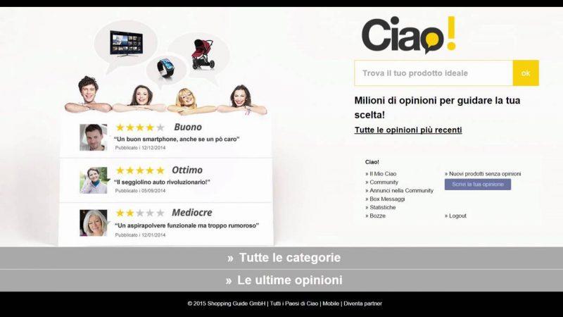 Vecchia homepage di Ciao.it