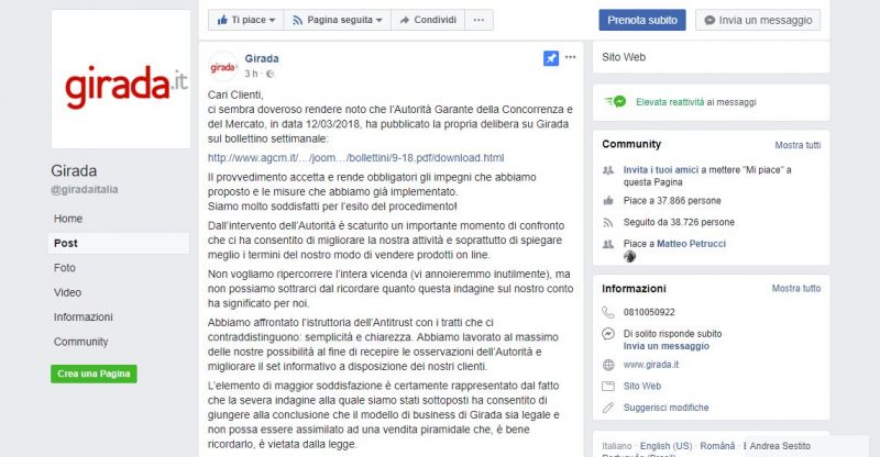 Post Facebook di Girada.it
