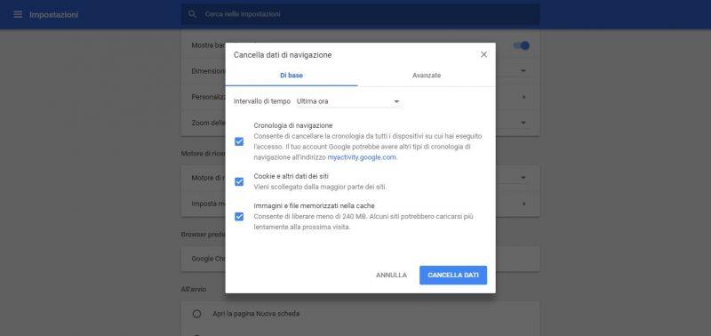 Ottimizzare Google Chrome cancellando i dati di navigazione