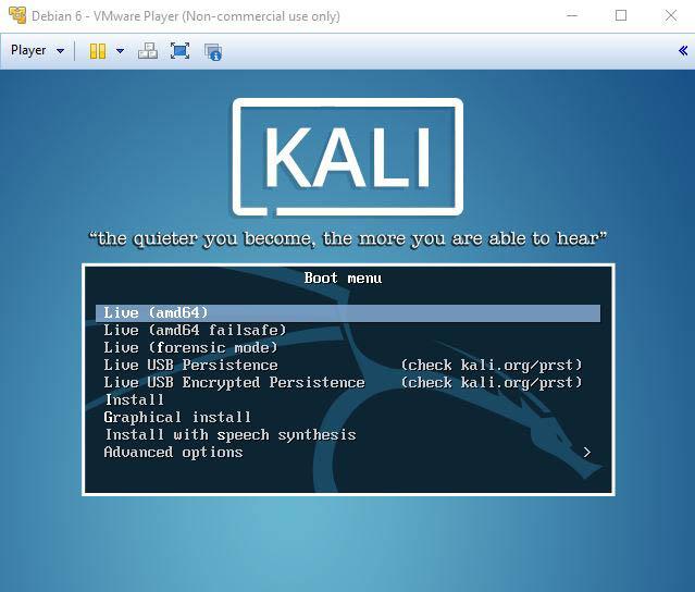 Macchian virtuale basata su Kali Linux