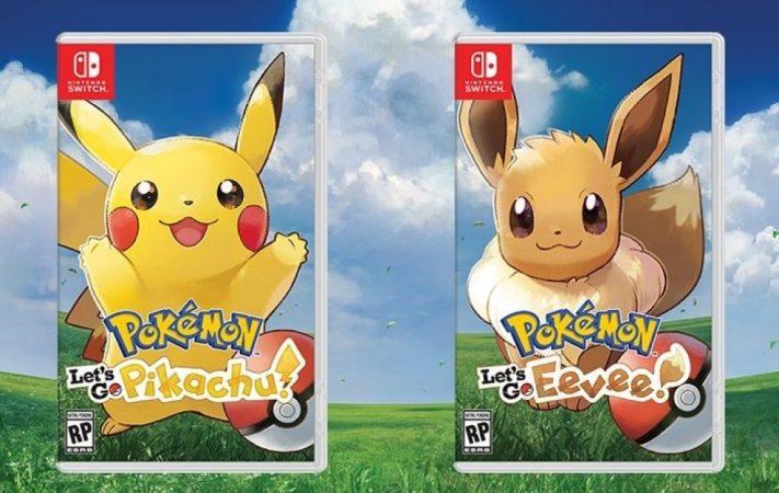 Copertine ufficiali di Pokemon Let's Go Pikachu e Let's Go Eevee
