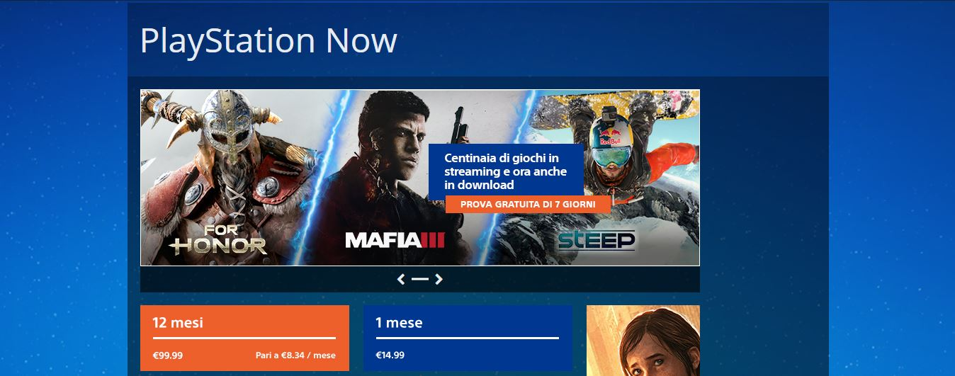 Prezzi PlayStation Now