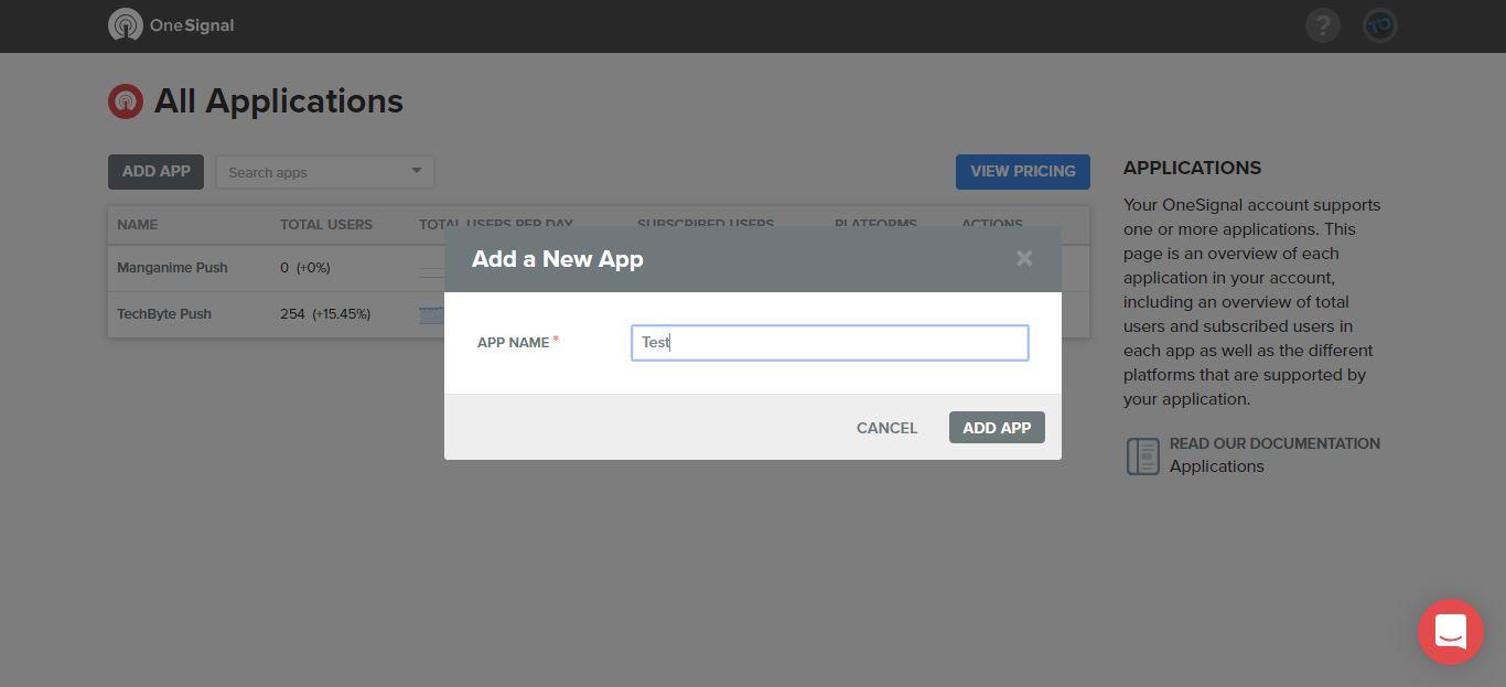 Creazione di una notifica push con OneSignal