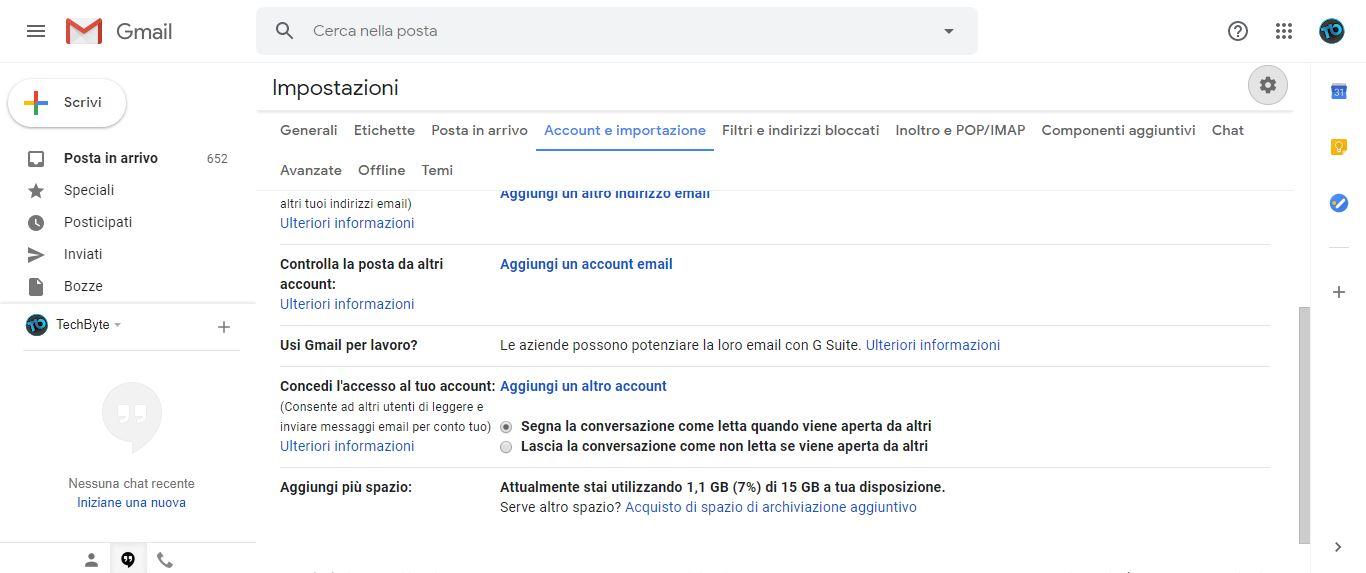 Gmail importazione