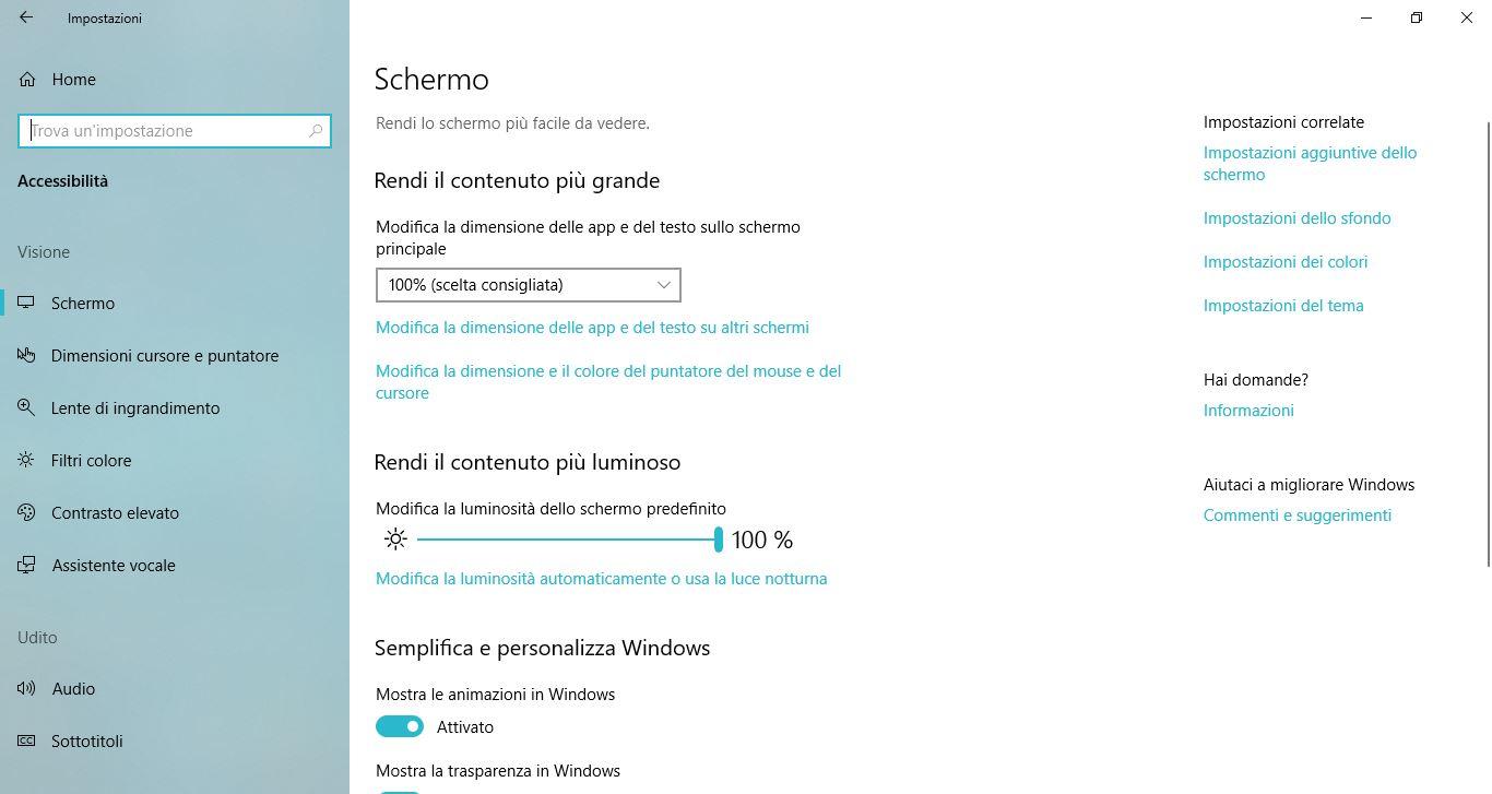 Impostazioni di Windows 10: Accessibilità