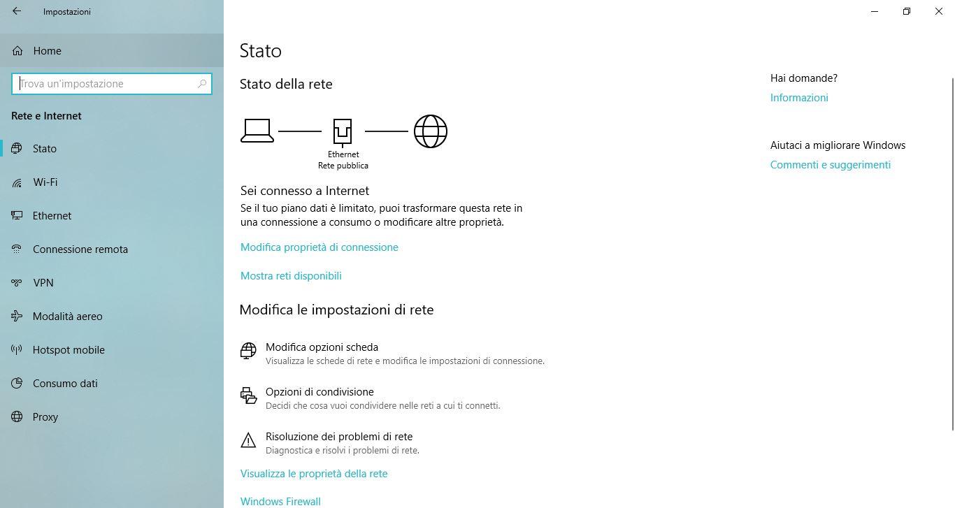 Impostazioni di Windows 10: Reti e Internet