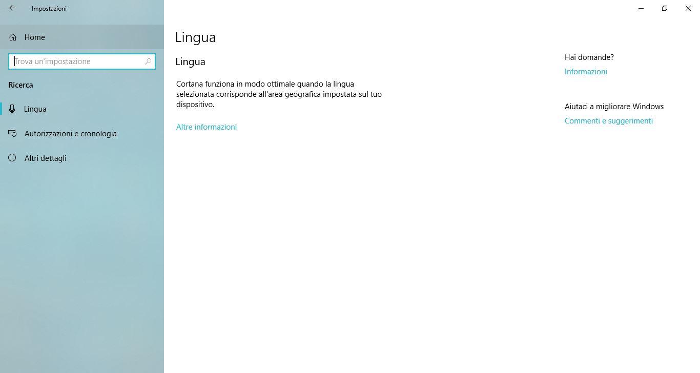 Impostazioni di Windows 10: Ricerca
