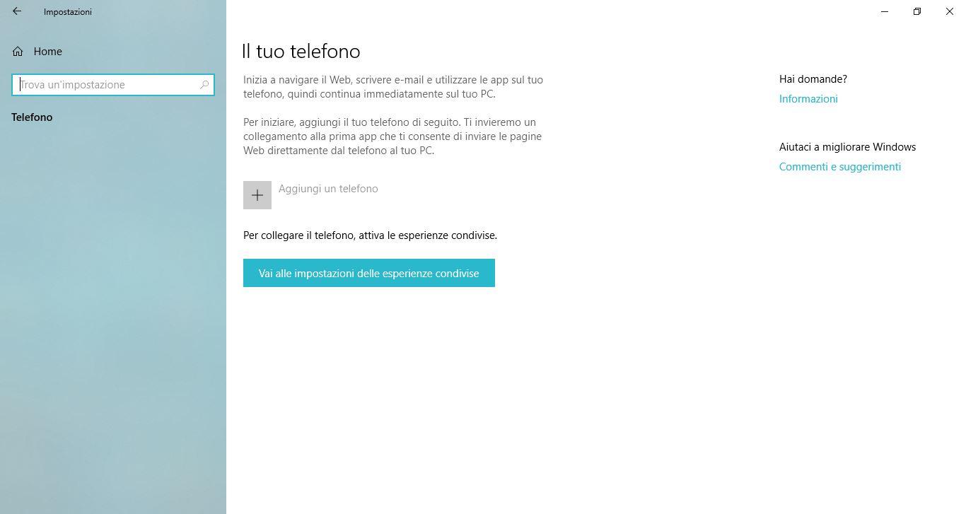 Impostazioni di Windows 10: Telefono