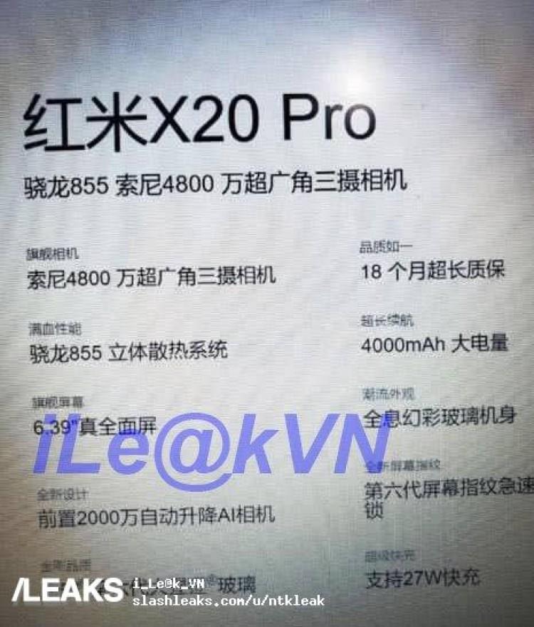 Redmi X20 Pro specifiche tecniche
