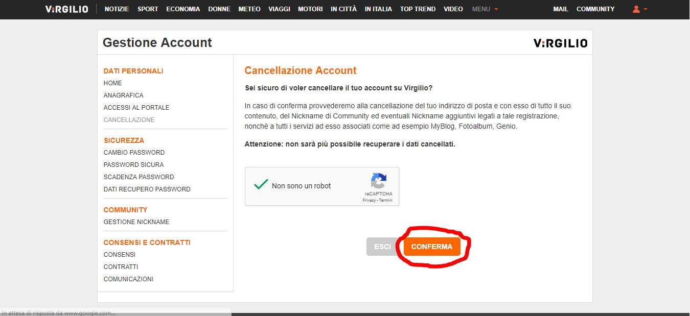 Cancellazione account Virgilio Mail