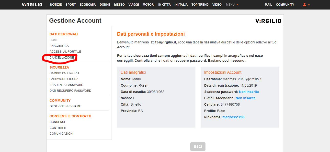 Gestione account Virgilio Mail
