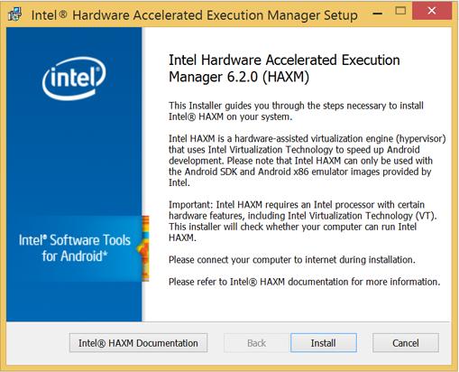 Installazione Intel HAXM tramite installer