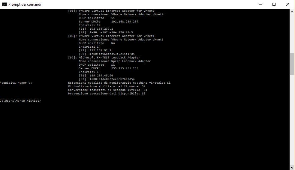 Verifica compatibilità Hyper-V