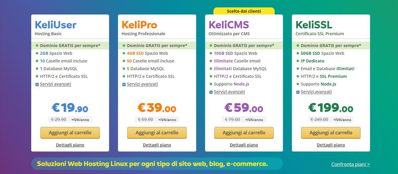 Keliweb hosting web prezzi