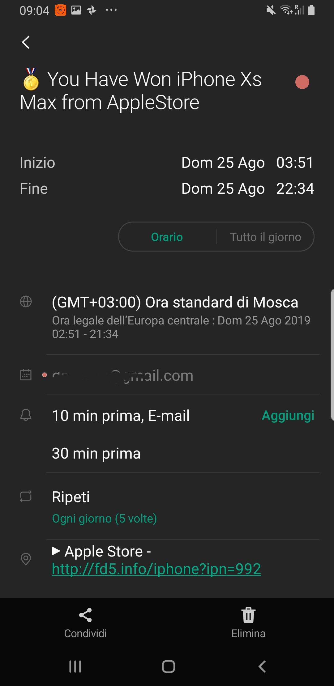 Google Calendar vittima di phishing. Come risolvere il problema dello spam? 1