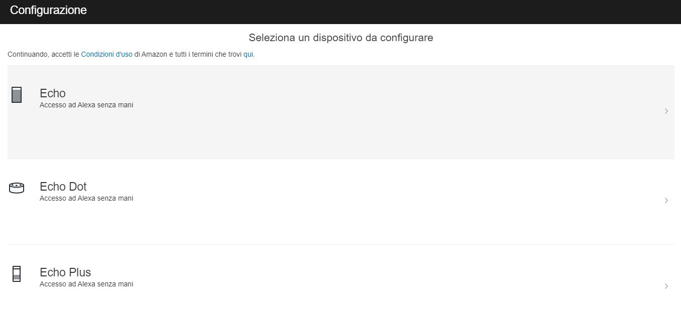 Configurare Amazon Echo: scelta del dispositivo