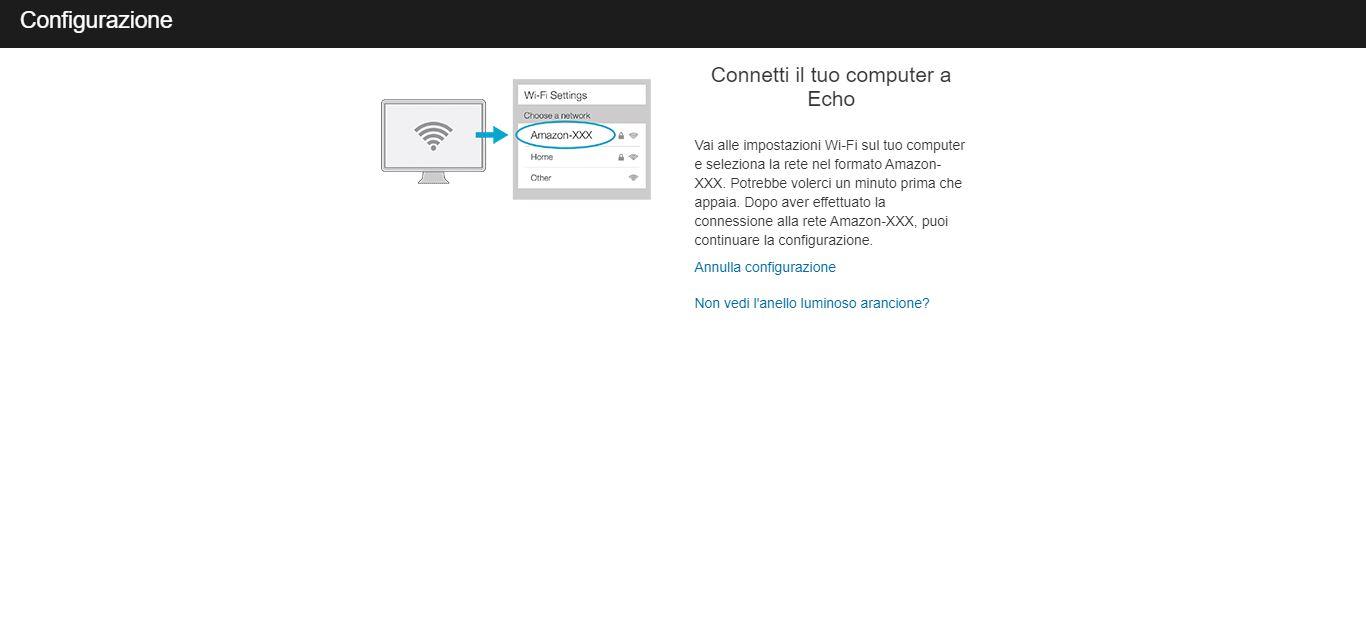 Configurare Amazon Echo: Rete