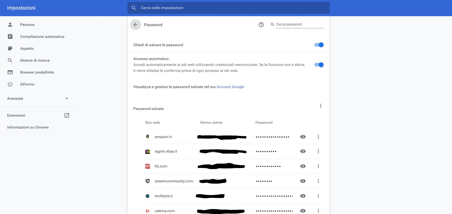 Google Chrome gestore password