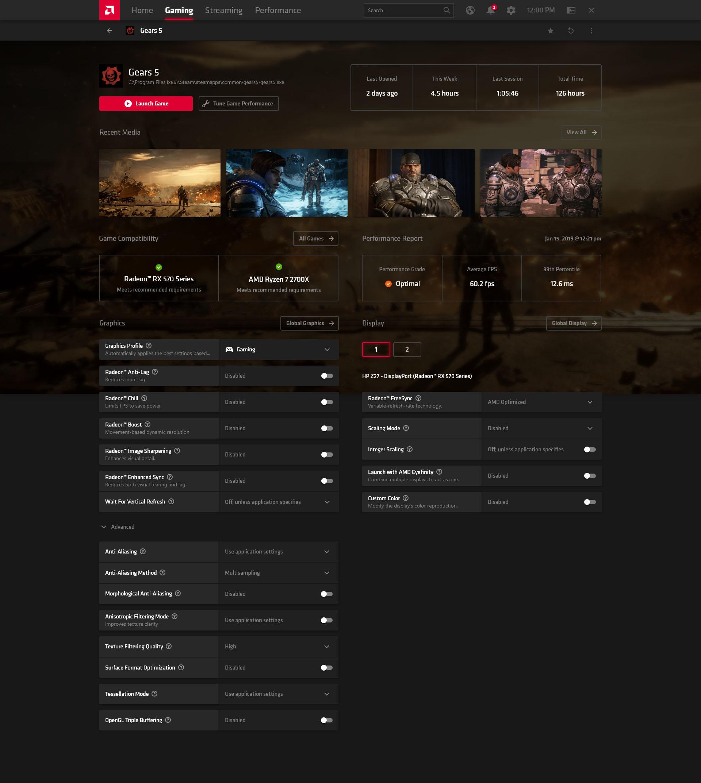 Adrenalin 2020 Edition opzioni gaming
