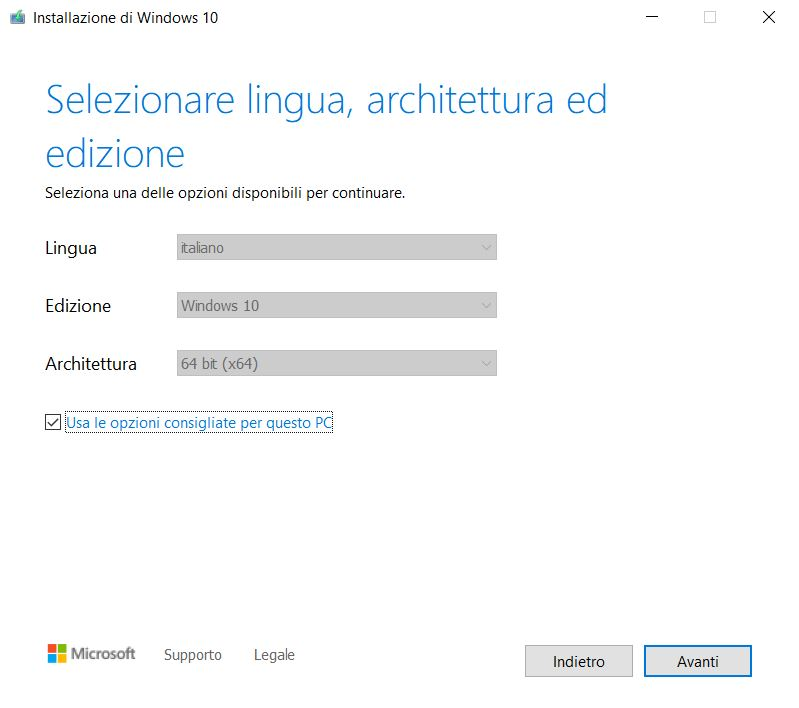 Supporto installazione Windows 10
