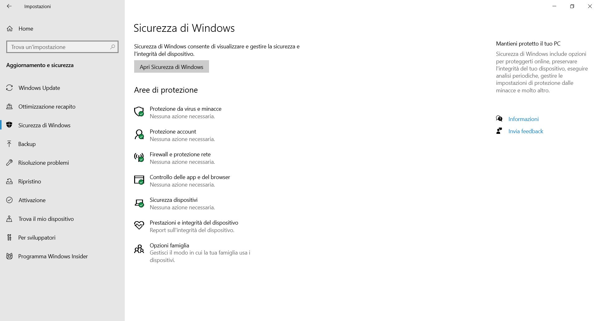 Sicurezza di Windows 10