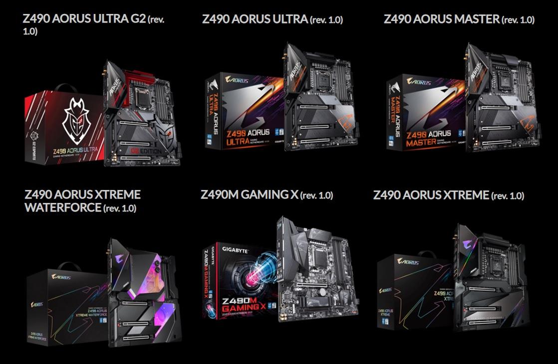 Aorus Z490 modelli