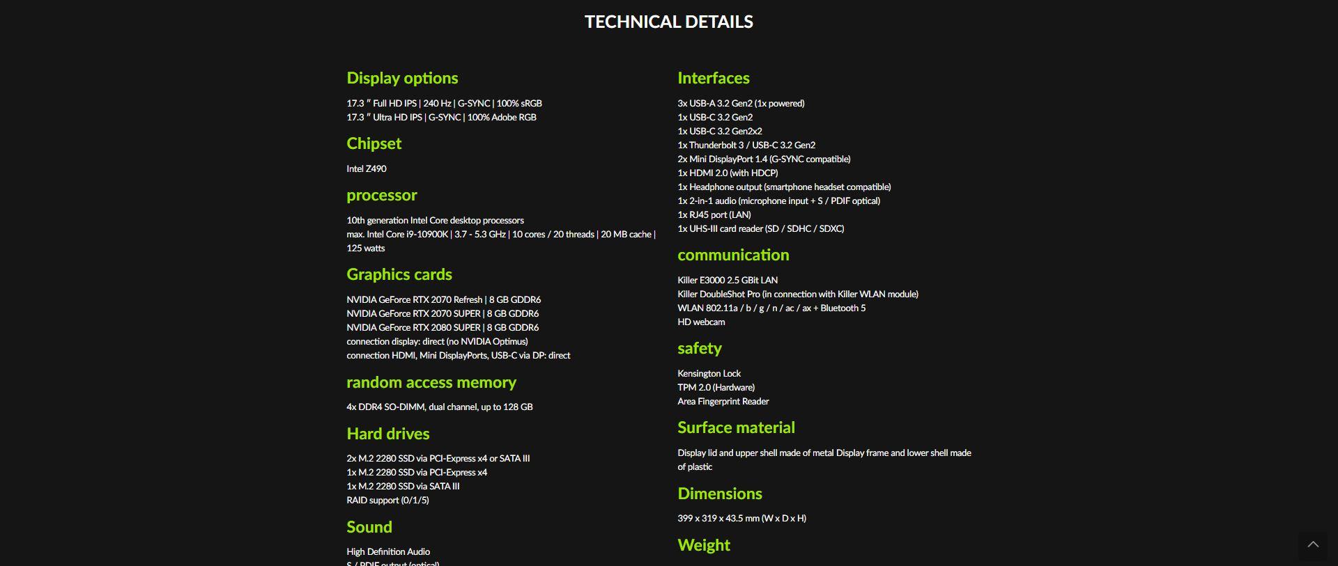 XMG Ultra 17 specifiche tecniche