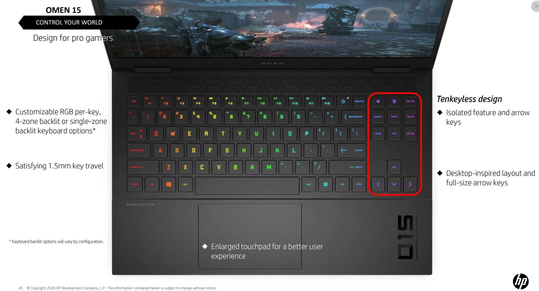 HP Omen 15 tastiera